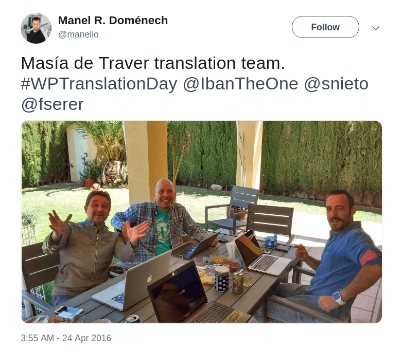 Masía de Traver translation team on WordPress Translation Day 1
