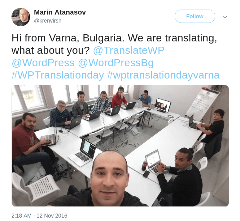 Bulgaria translation team on WordPress Translation Day 2
