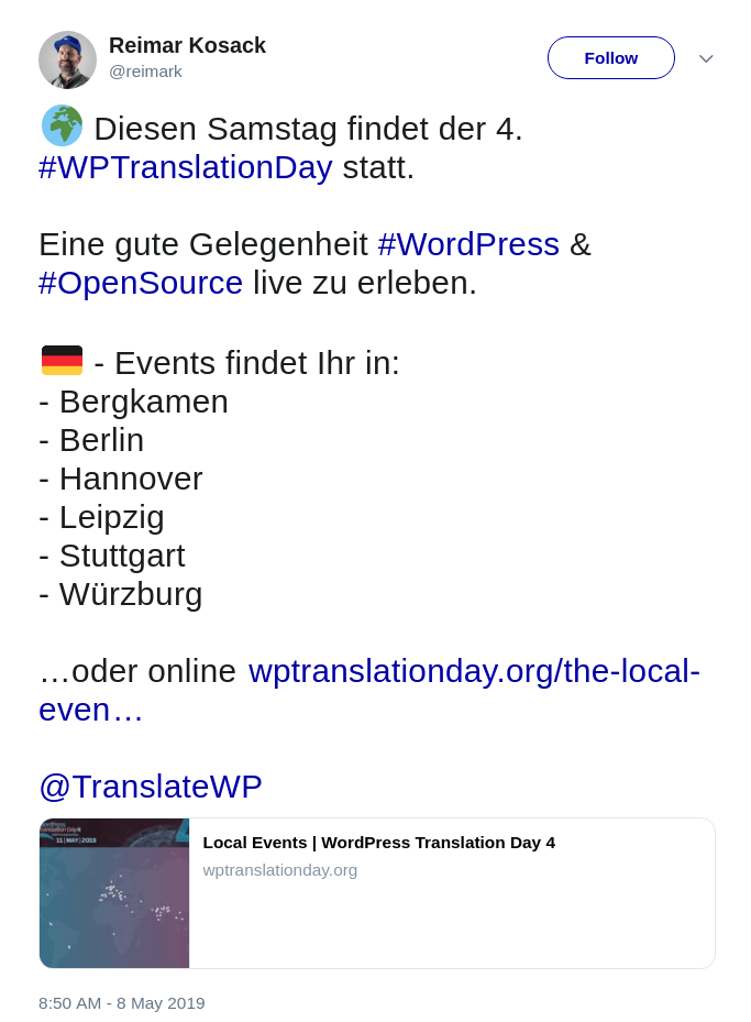 Reimar Kosack on WordPress Translation Day 4