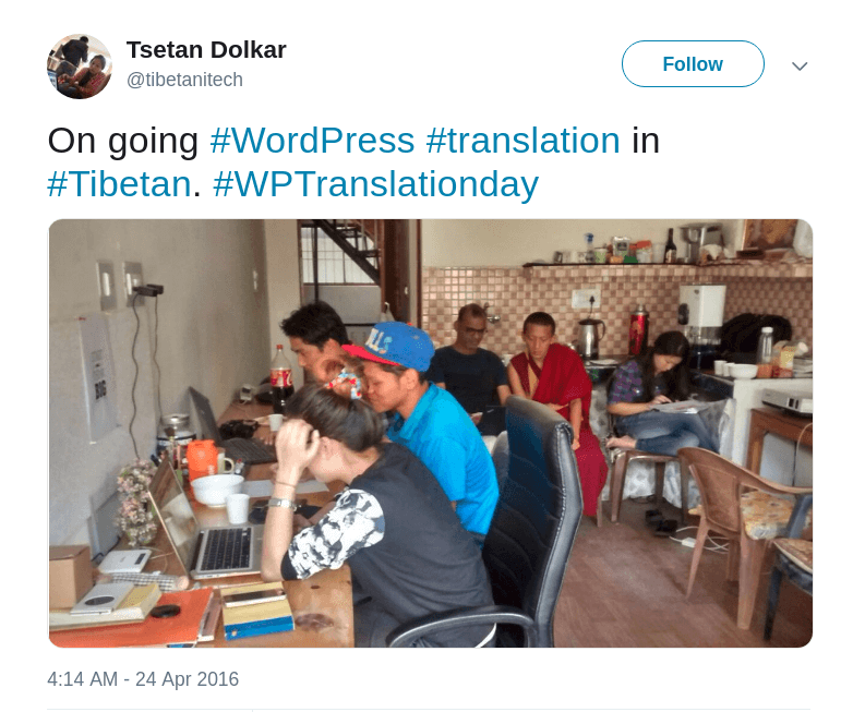 Tibetan translation team on WordPress Translation Day 1