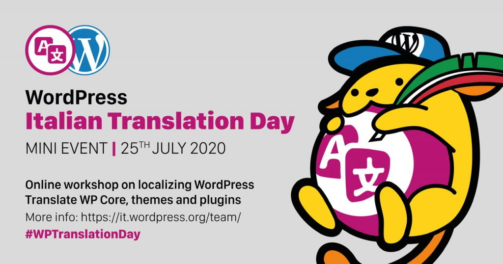 Banner with wapuu for the Italian WordPress Translation Day Mini-event on Sat 25 July 2020