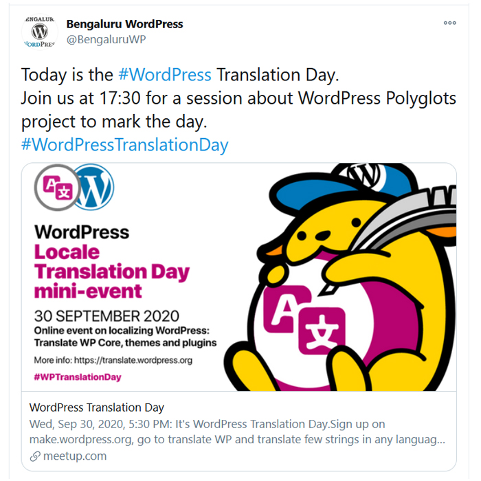 One of the Tweets from the Bengaluru's event