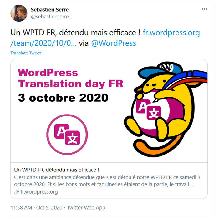 Tweet screenshot from the French event