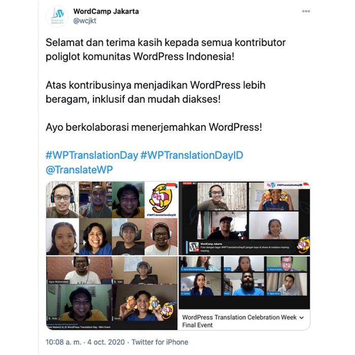Tweet screenshot from Indonesian event