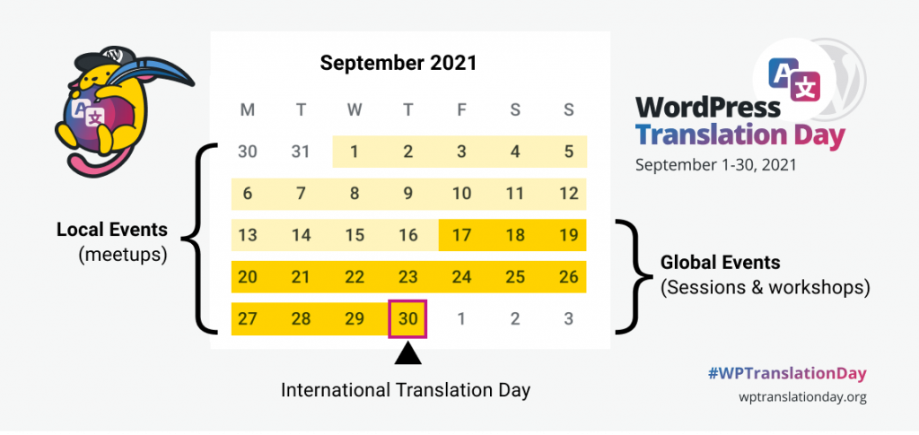 Local Events for International Translation Day 2021 calendar